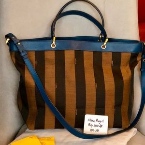 🔹FENDI Tobacco Pequin Stripe Canvas Large Tote🔹